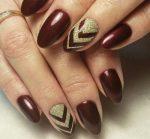 Маникюр коричнево золотой – Маникюр с золотом — популярные дизайны для ногтей в домашних условиях