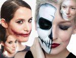 Грим на хэллоуин на пол лица – для девушек, парней, детей. Как сделать страшный макияж на Хэллоуин своими руками?