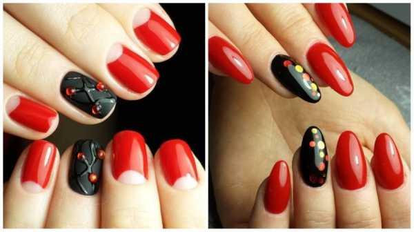 Маникюр красные ногти и черные ногти