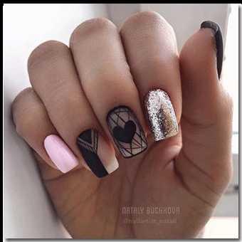 Радужный дизайн ногтей блестками